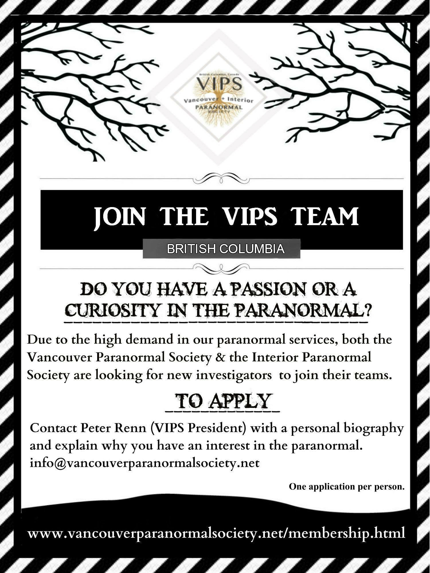 We are currently accepting applications for new investigators to join the team if you have a passion or curiosity in the paranormal and have ever